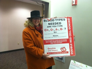 Lisa Wessan, advocating for blood donation at Red Cross.